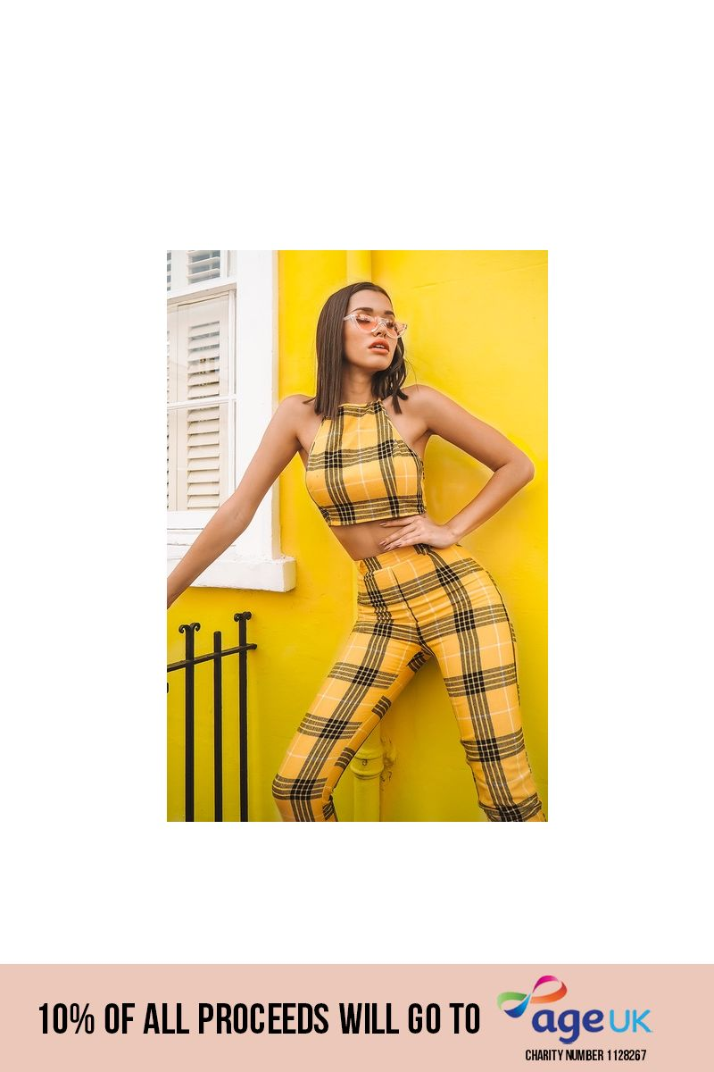 yellow halterneck checked crop top