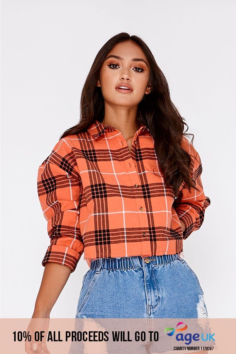 orange cropped checked shirt
