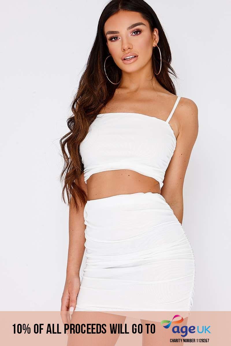 white ruched mesh mini skirt