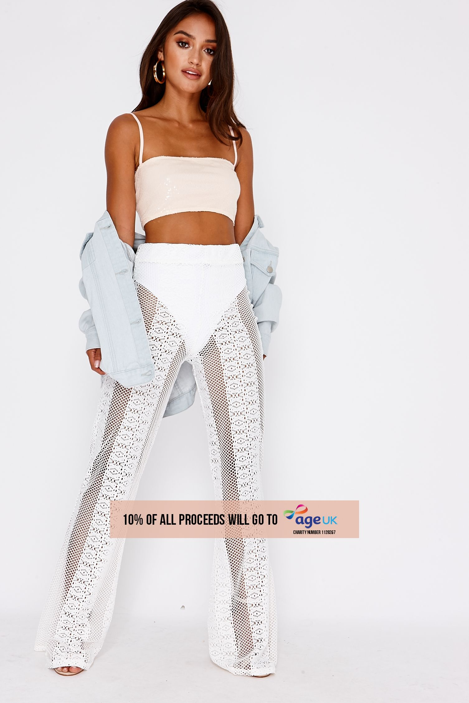 white lace flared trousers