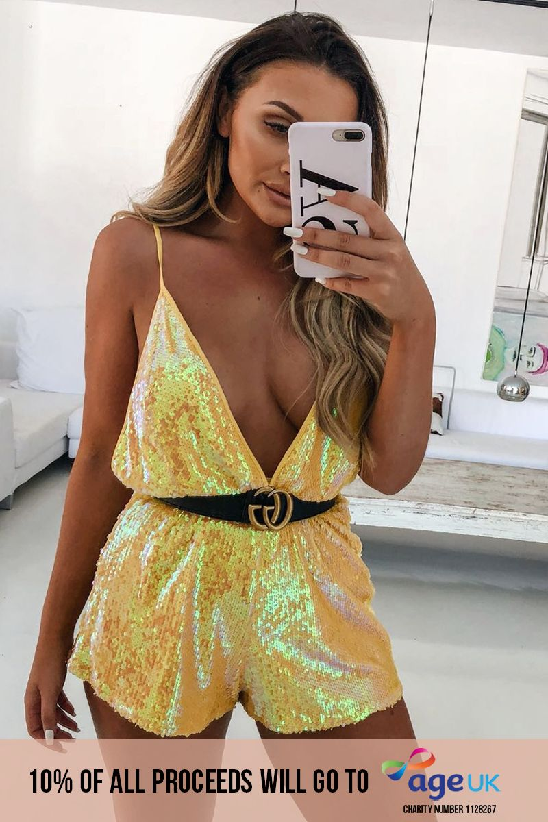 yellow sequin plunge playsuit