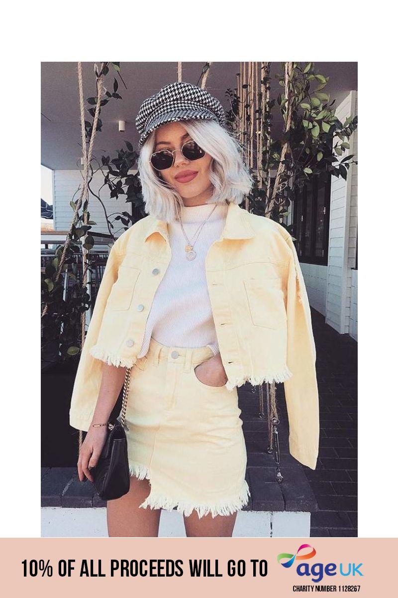 lemon frayed hem cropped denim jacket