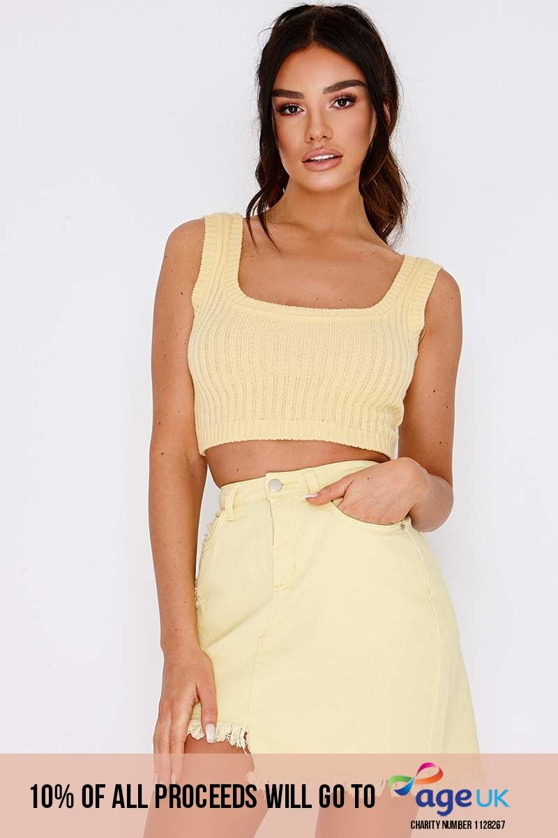lemon asymmetric hem denim skirt