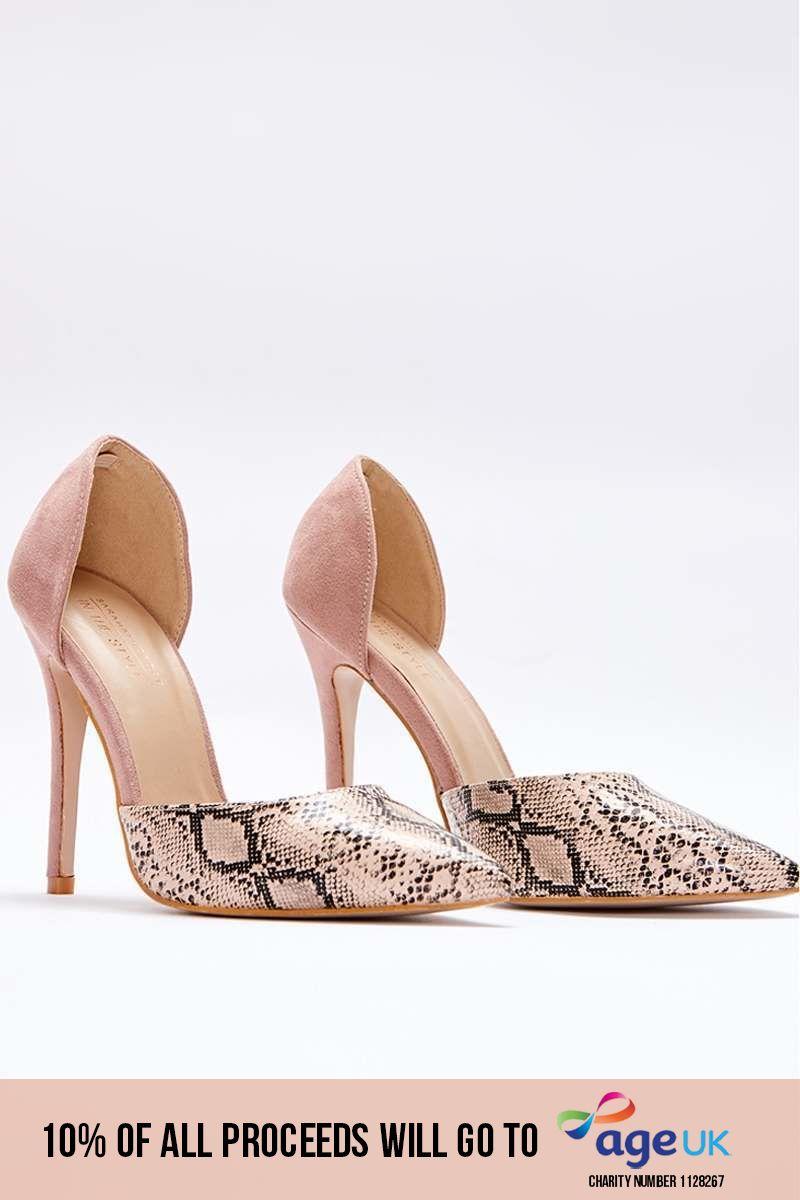 nude snake print contrast court heels