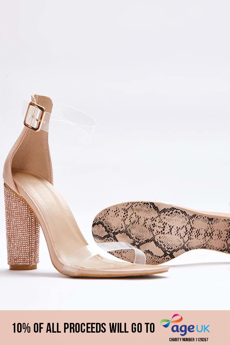 nude faux leather clear strap diamante barely there heels