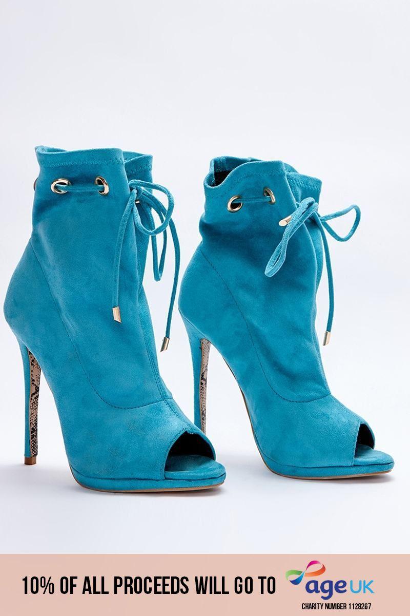aqua faux suede paperbag peeptoe ankle boots