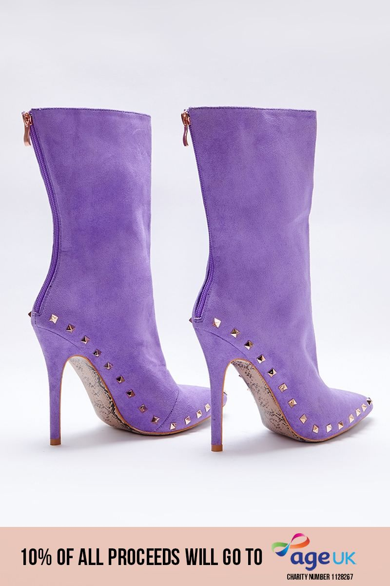lilac faux suede studded sole ankle boots