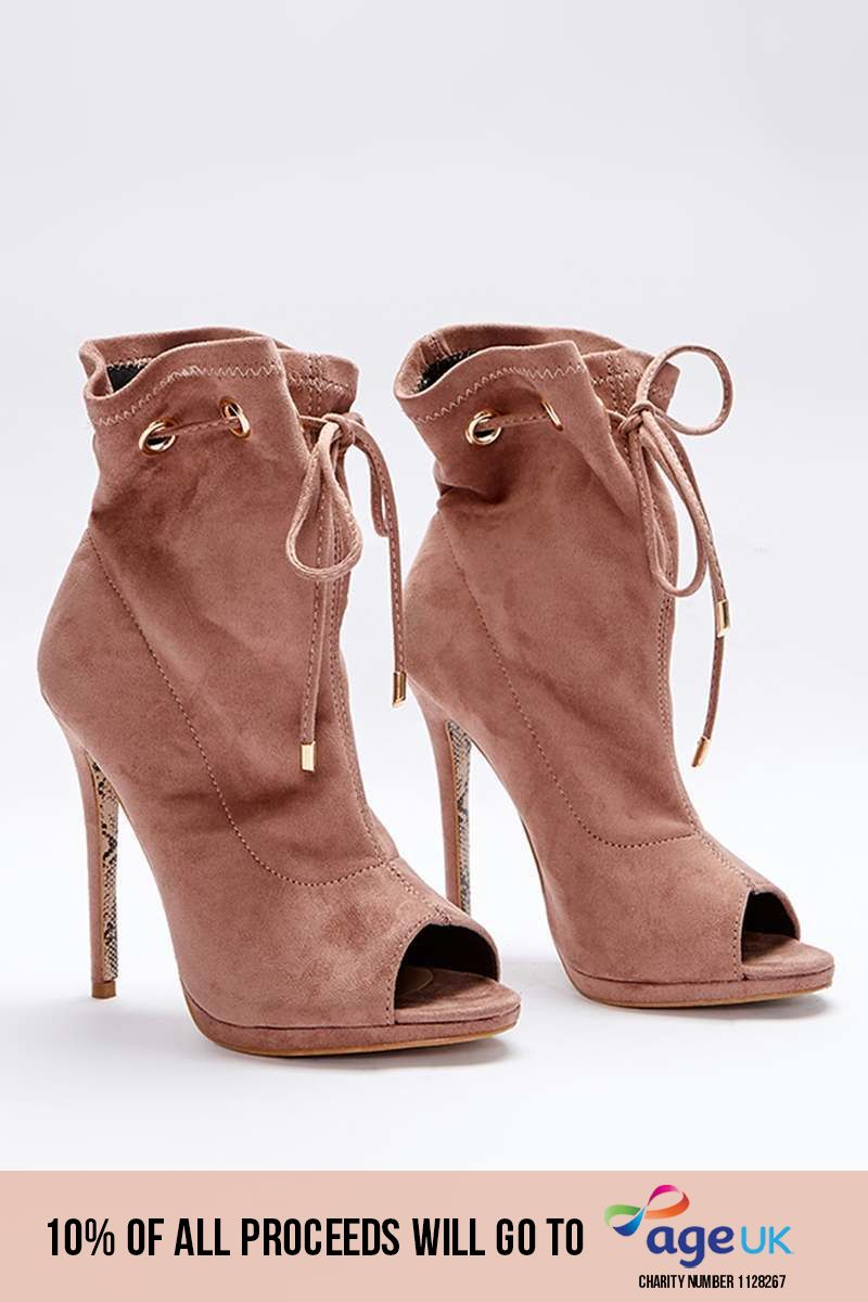 SARAH ASHCROFT NUDE FAUX SUEDE PAPERBAG PEEPTOE ANKLE BOOTS