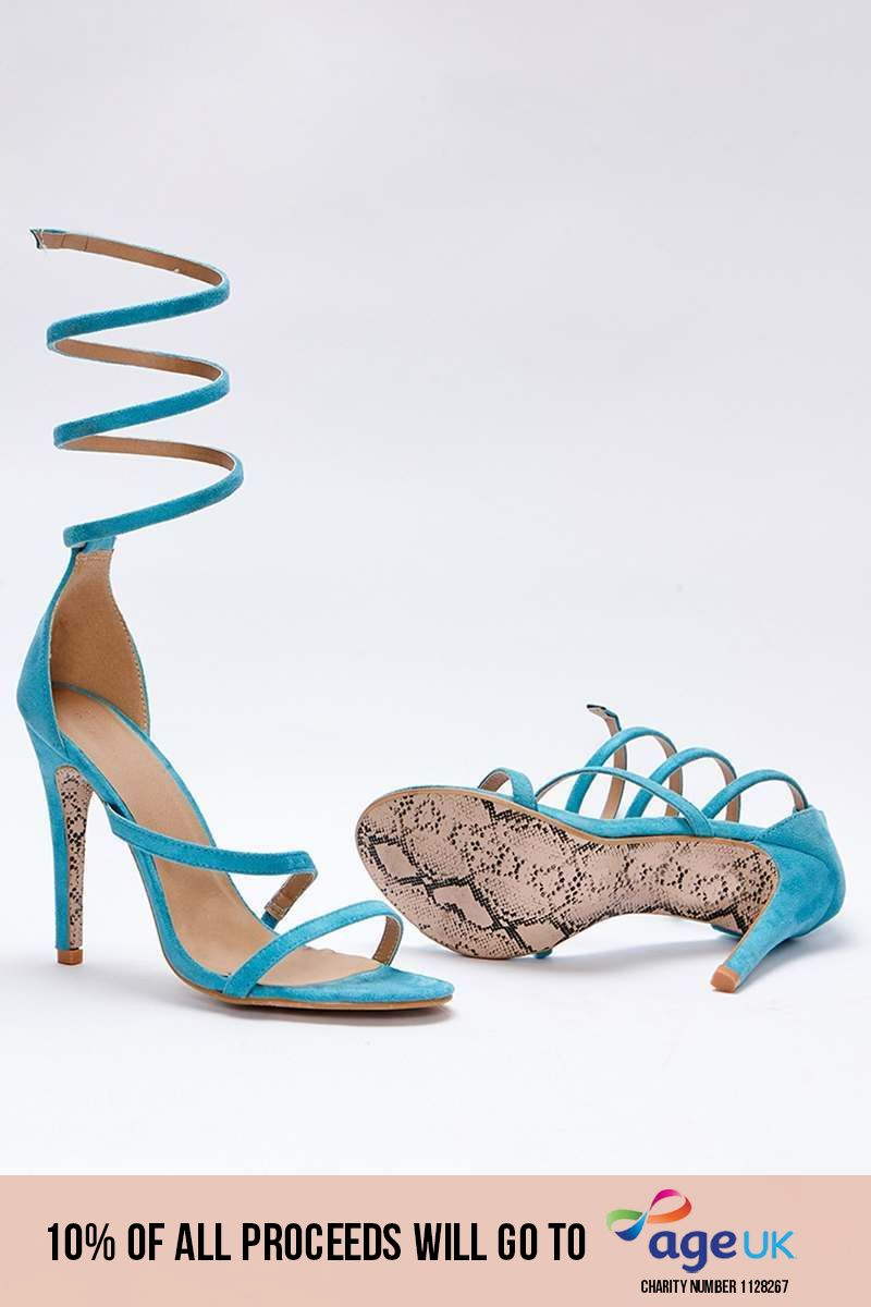 aqua faux suede spiral barely there heels