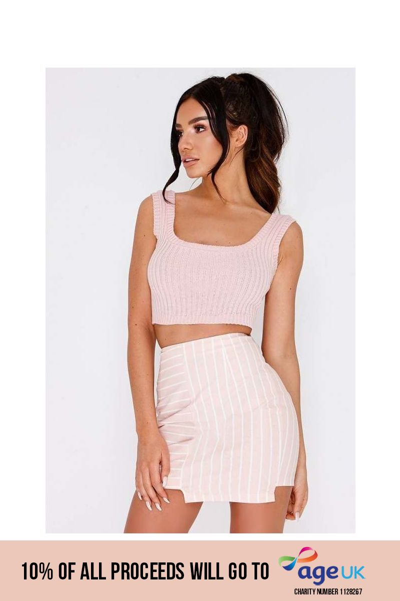 pink ribbed knit crop top