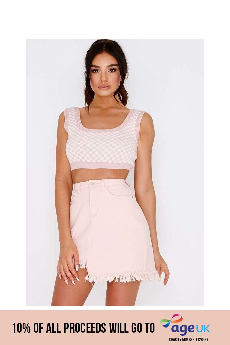pink checkerboard ribbed knit crop top