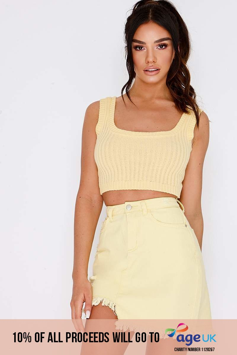 lemon ribbed knit crop top