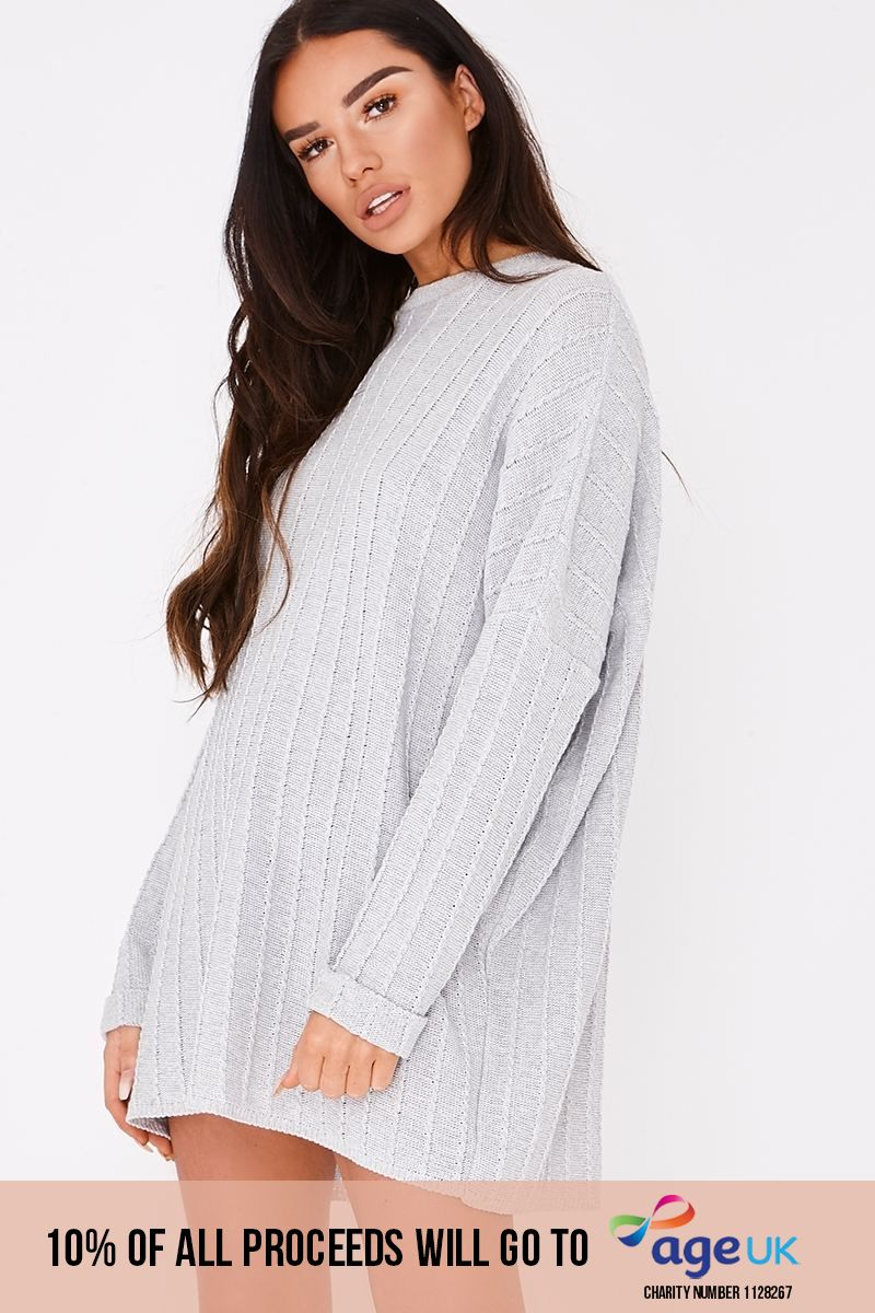 SARAH ASHCROFT GREY CABLE KNIT OVERSIZED JUMPER DRESS