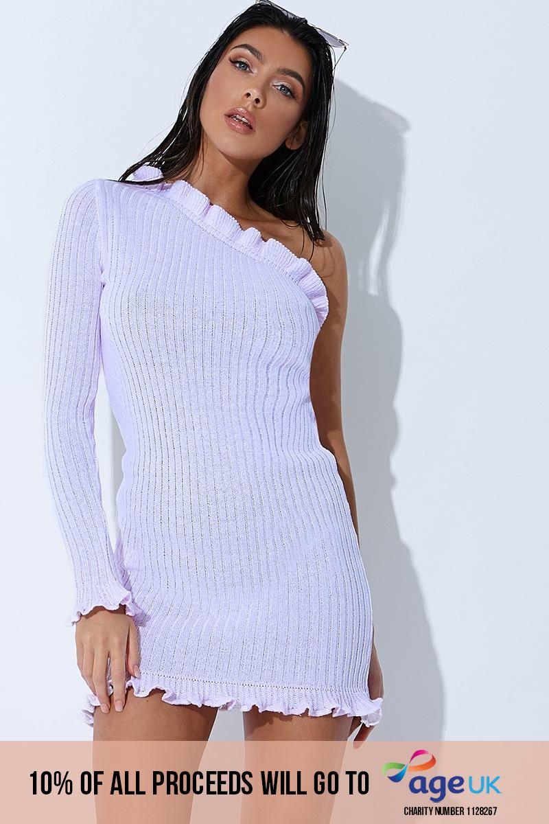 lilac ribbed ruffle one sleeve mini dress