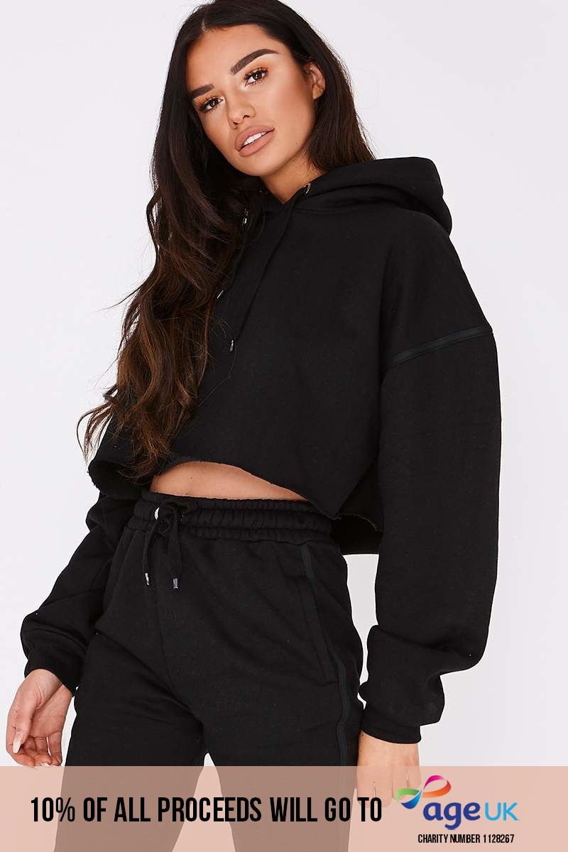 black binding detail cropped hoodie