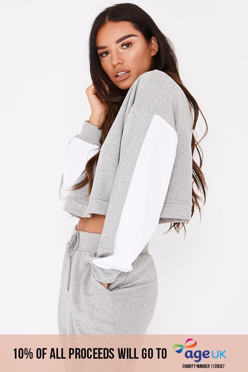 grey contrast panel cropped sweatshirt