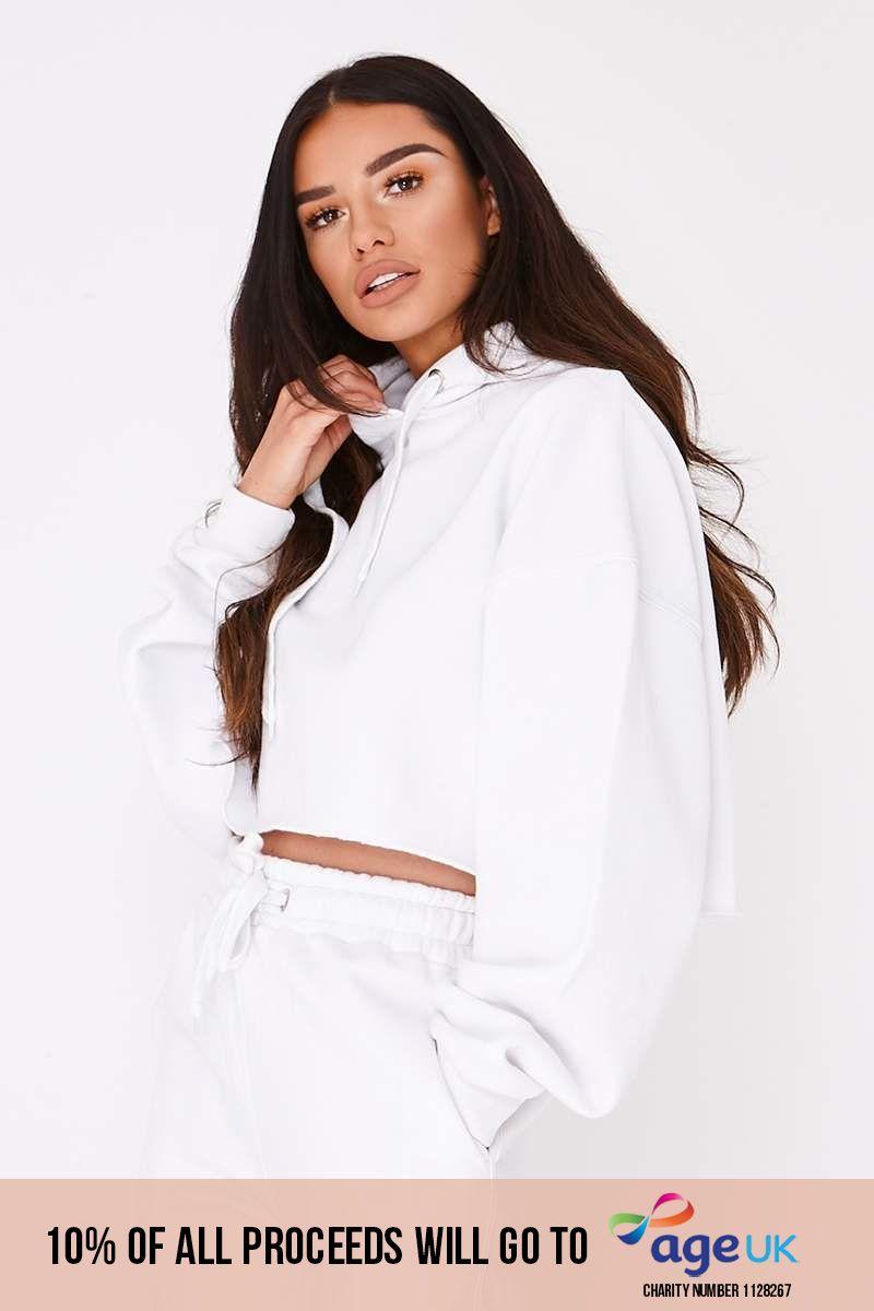 white binding detail cropped hoodie