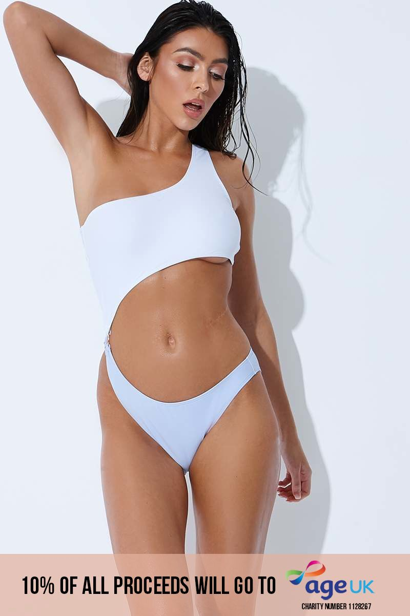 SARAH ASHCROFT WHITE & LILAC ASYMMETRIC CUT OUT SWIMSUIT