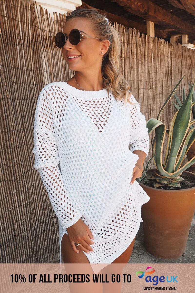 DANI DYER WHITE CROCHET OVERSIZED DRESS