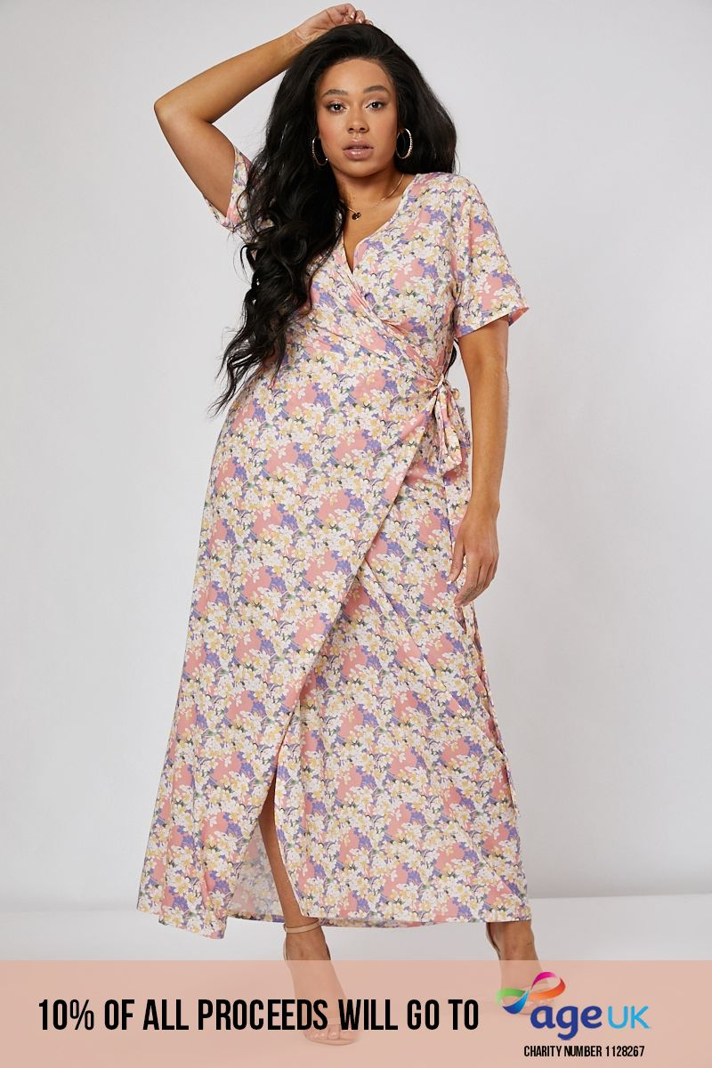 curve pink floral print wrap maxi dress
