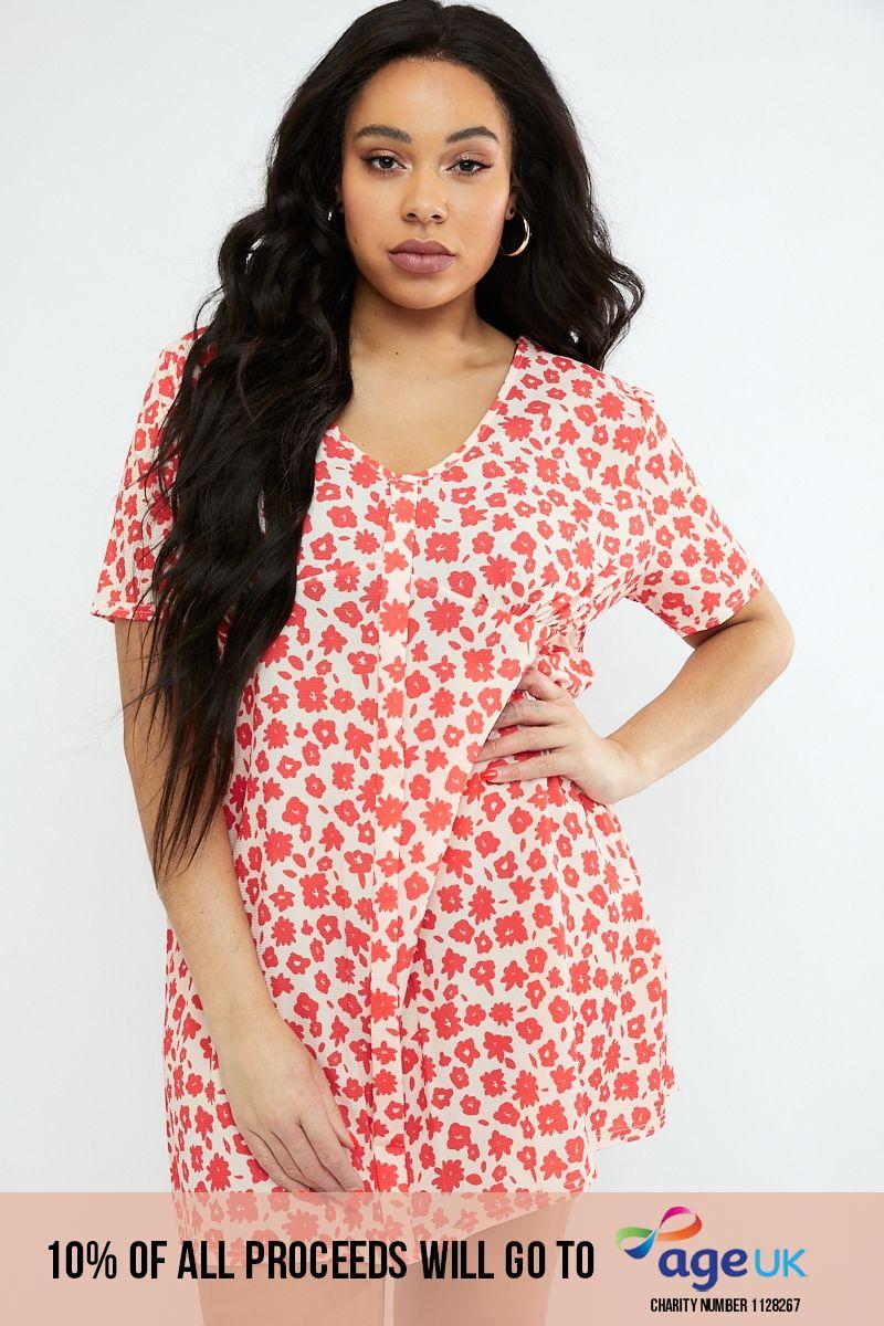 curve red floral print v neck shift dress