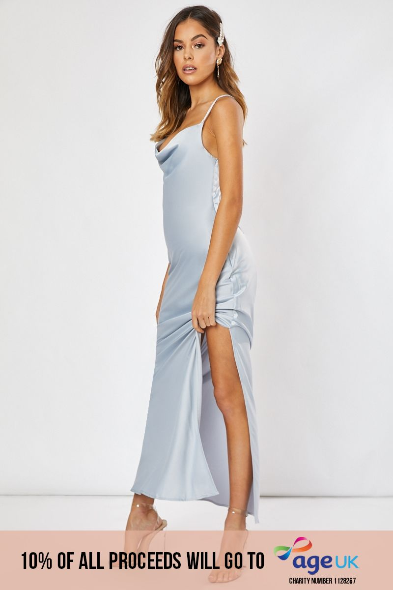 blue satin cowl neck cross back maxi dress