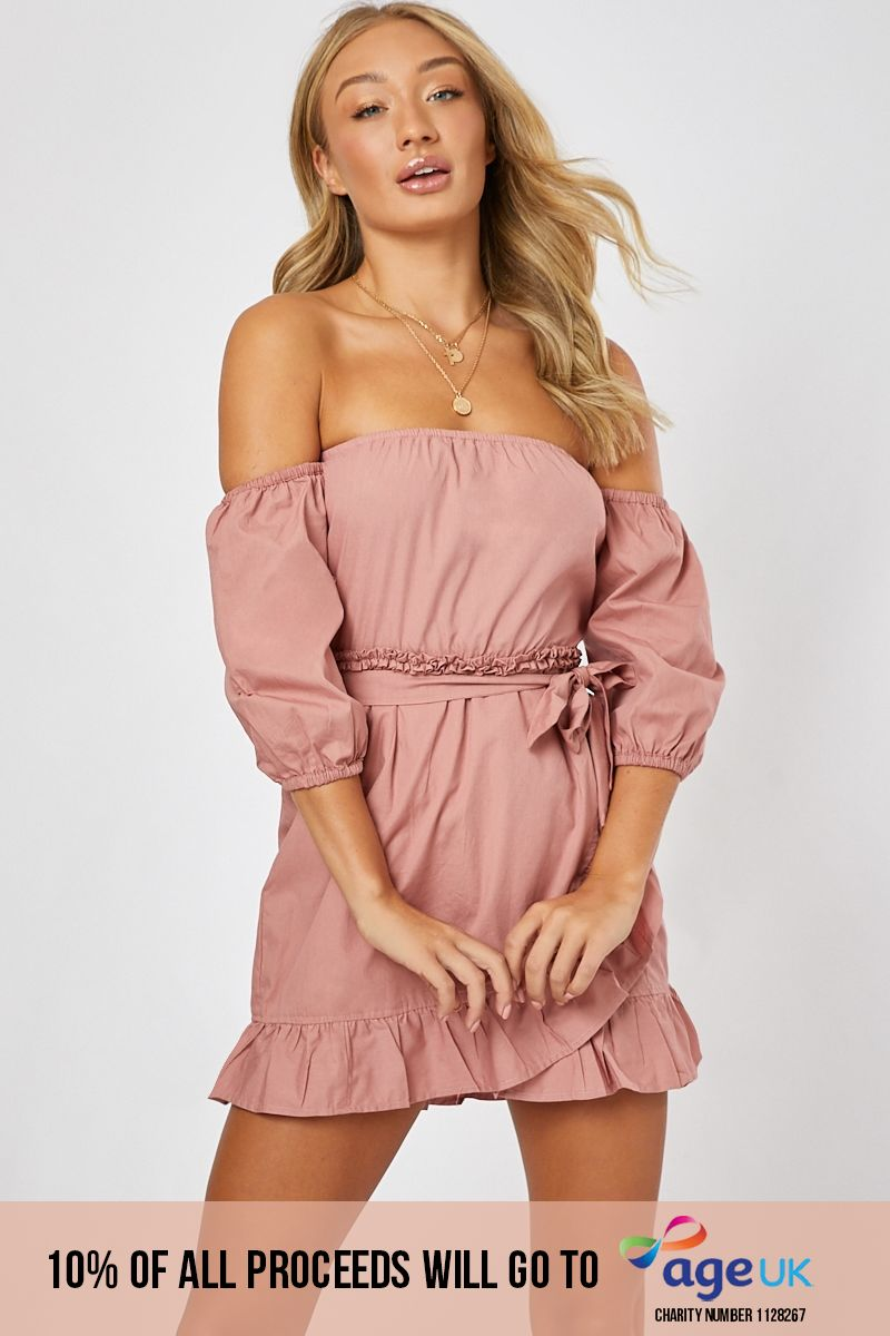 blush poplin frill bardot dress