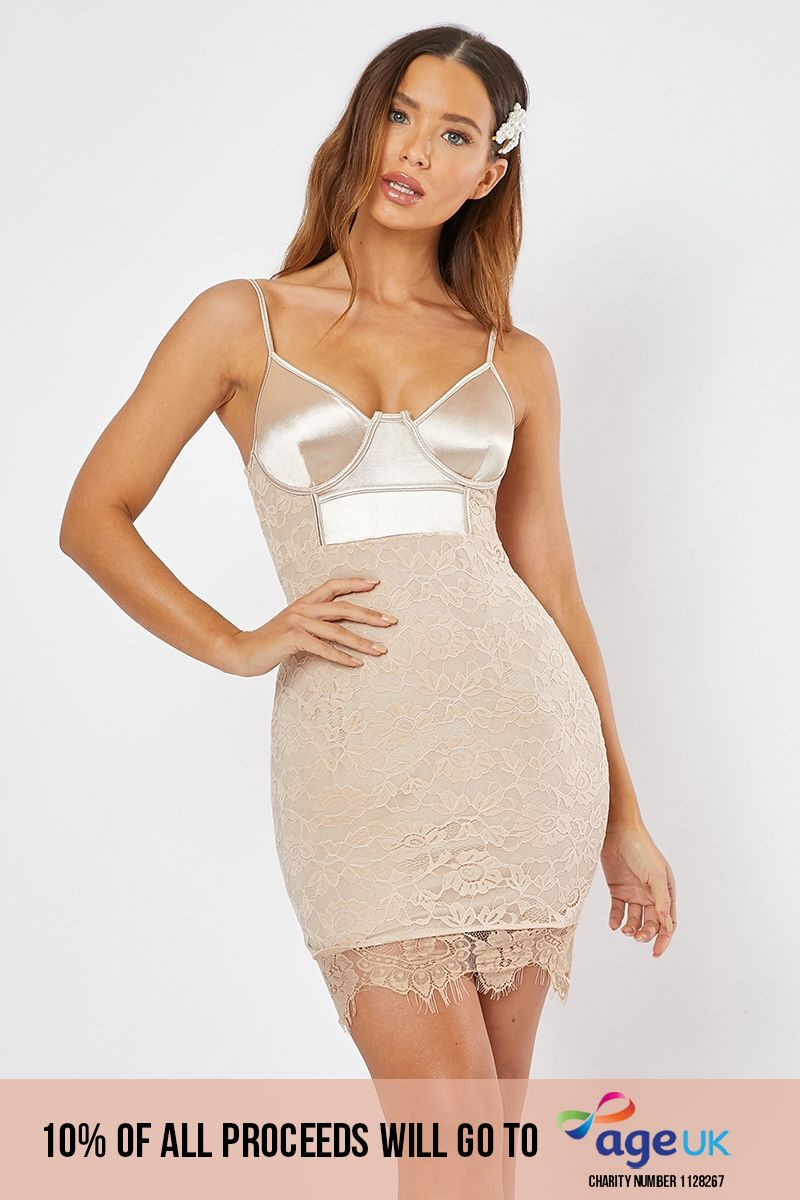 light gold underwired lace and satin mini dress