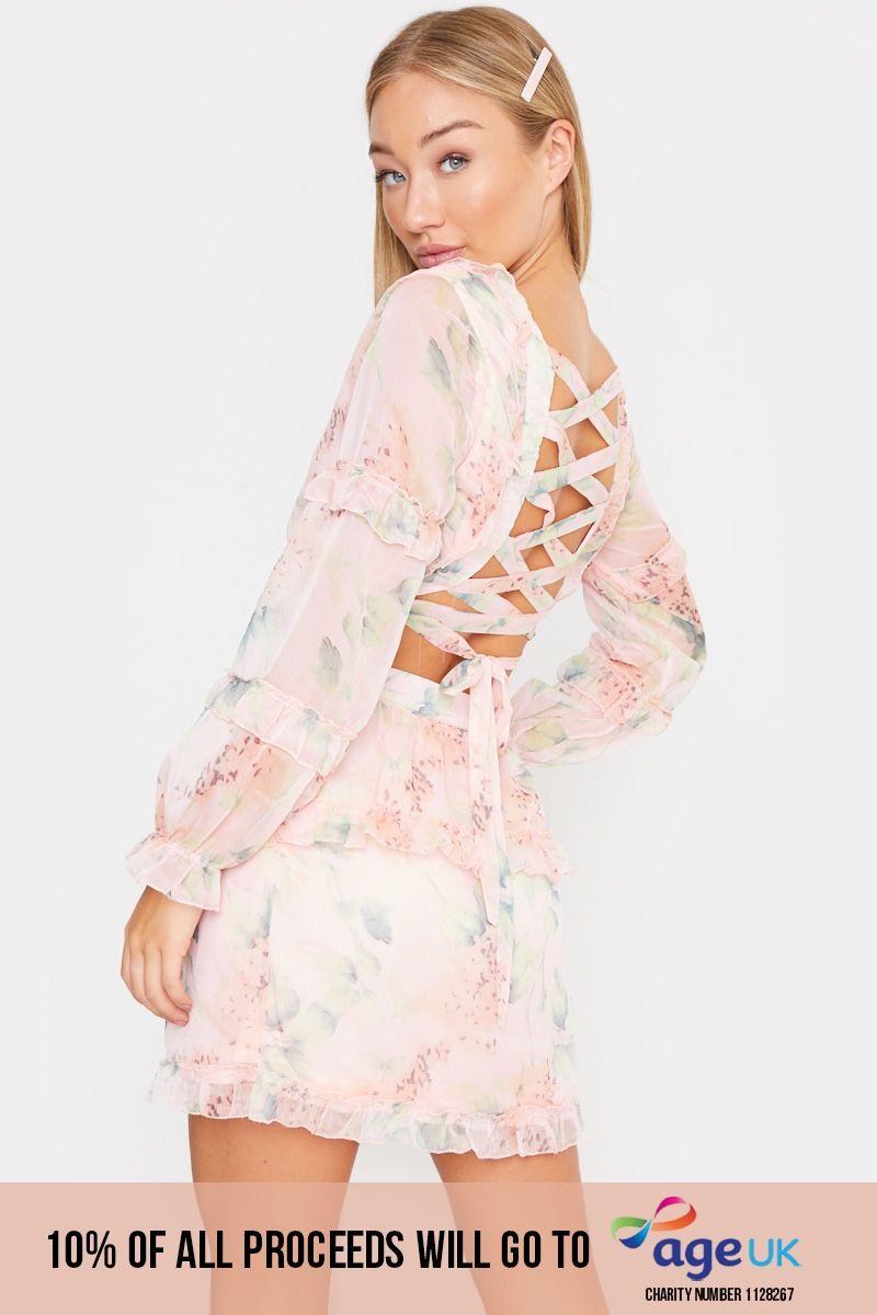 pink floral cut out waist dress