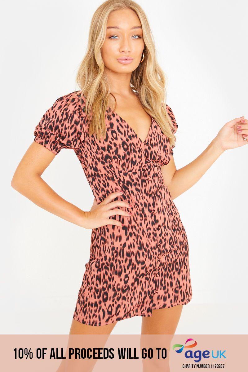 pink leopard puff sleeve button through gypsy mini dress