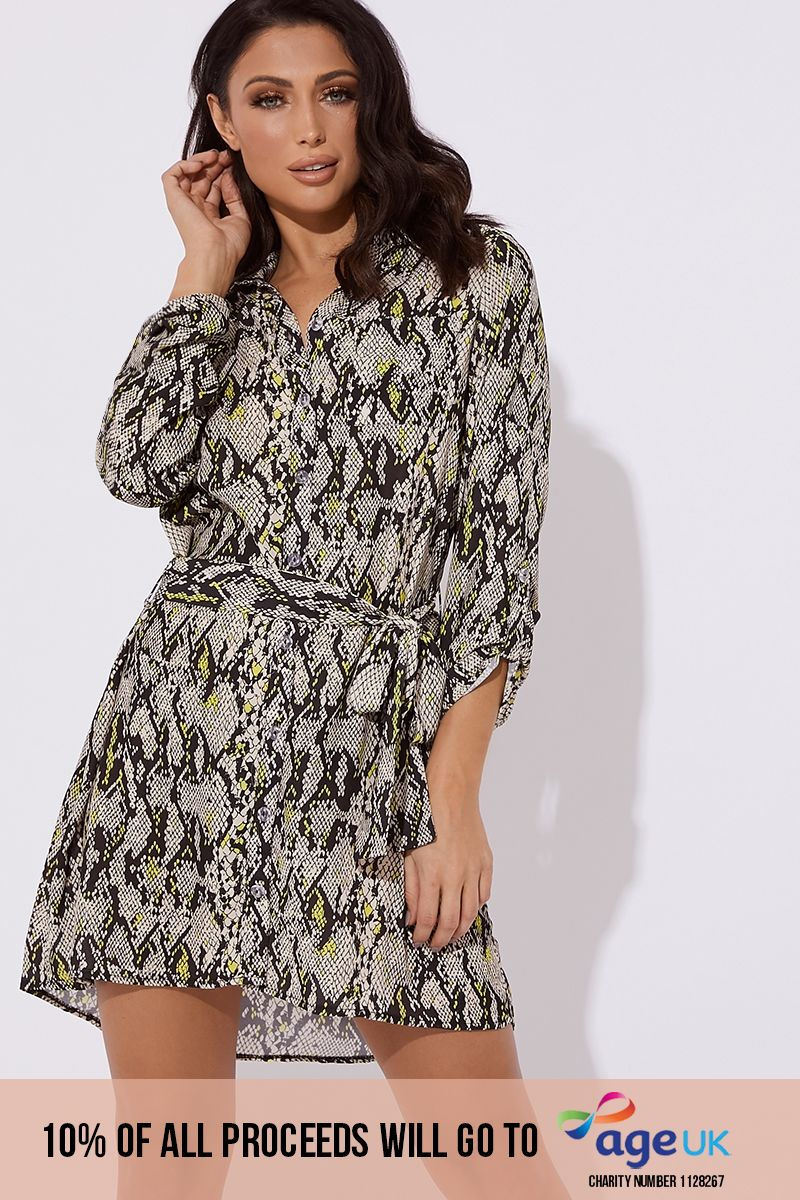 grey and lime snake print tie shirt dress