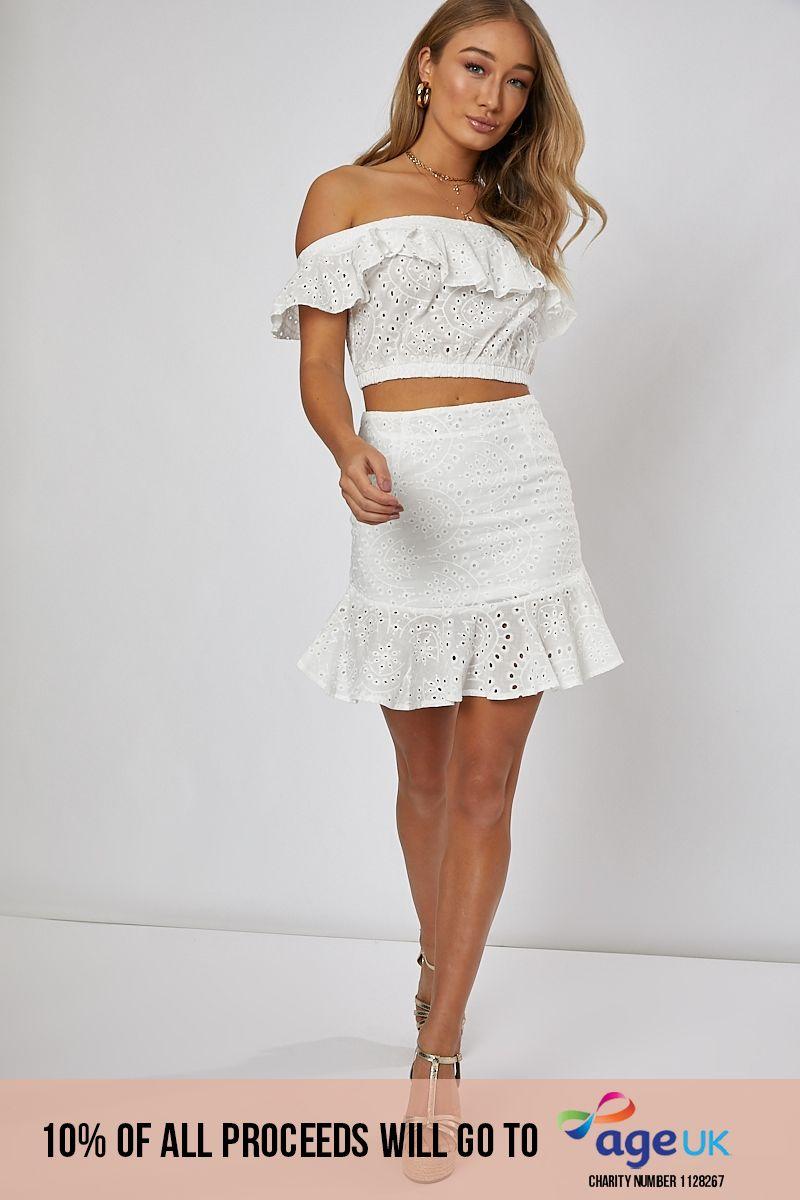 white frill hem detail co-ord mini skirt