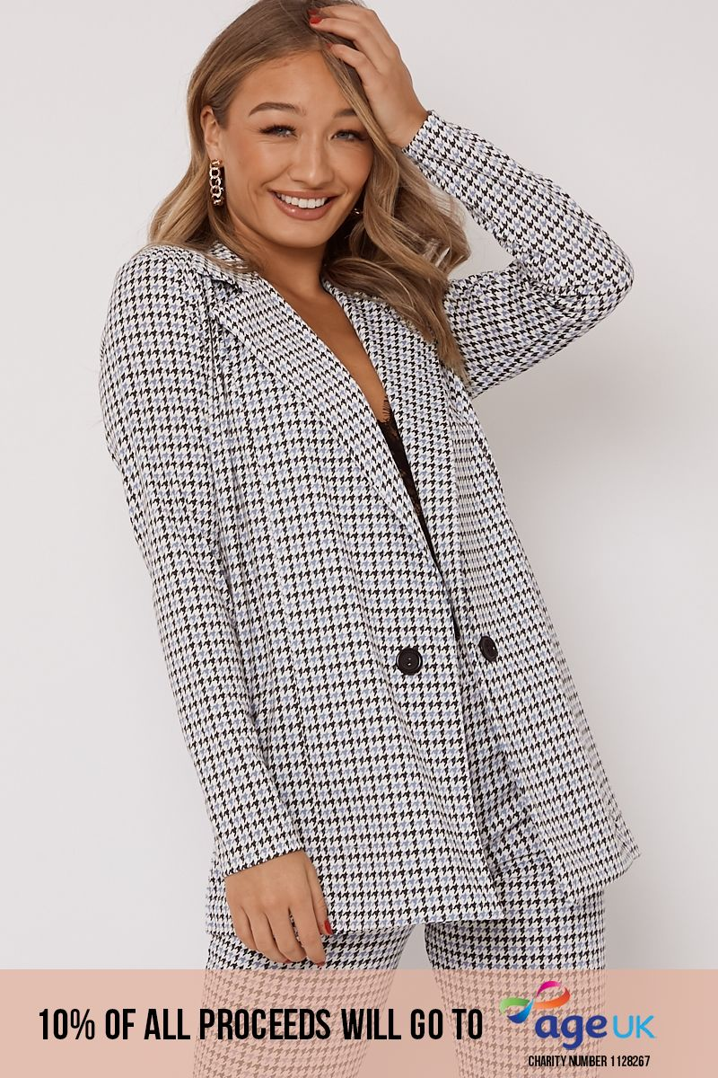 blue dogtooth check co ord blazer