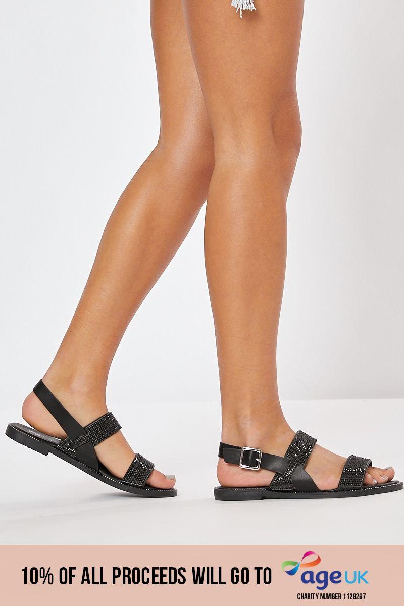 black diamante sandals
