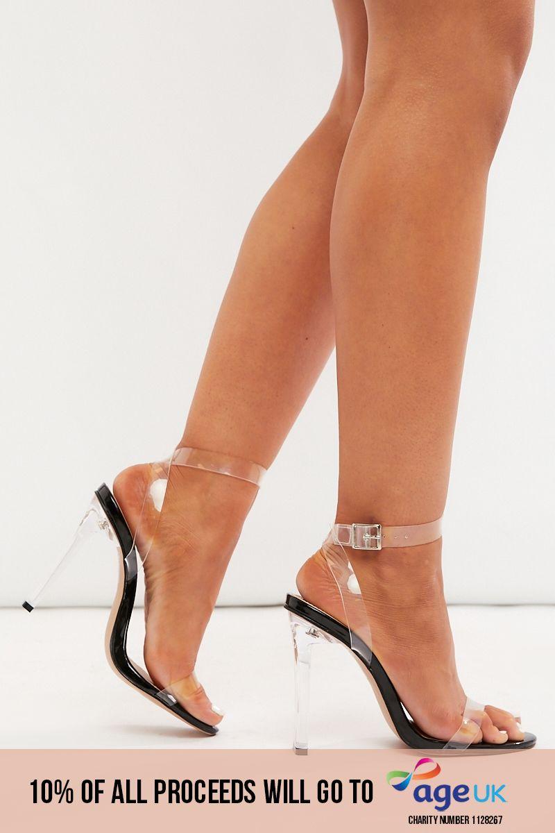 black clear strap heels