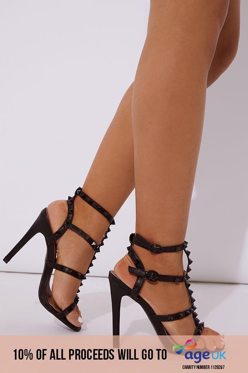 black pu studded heels