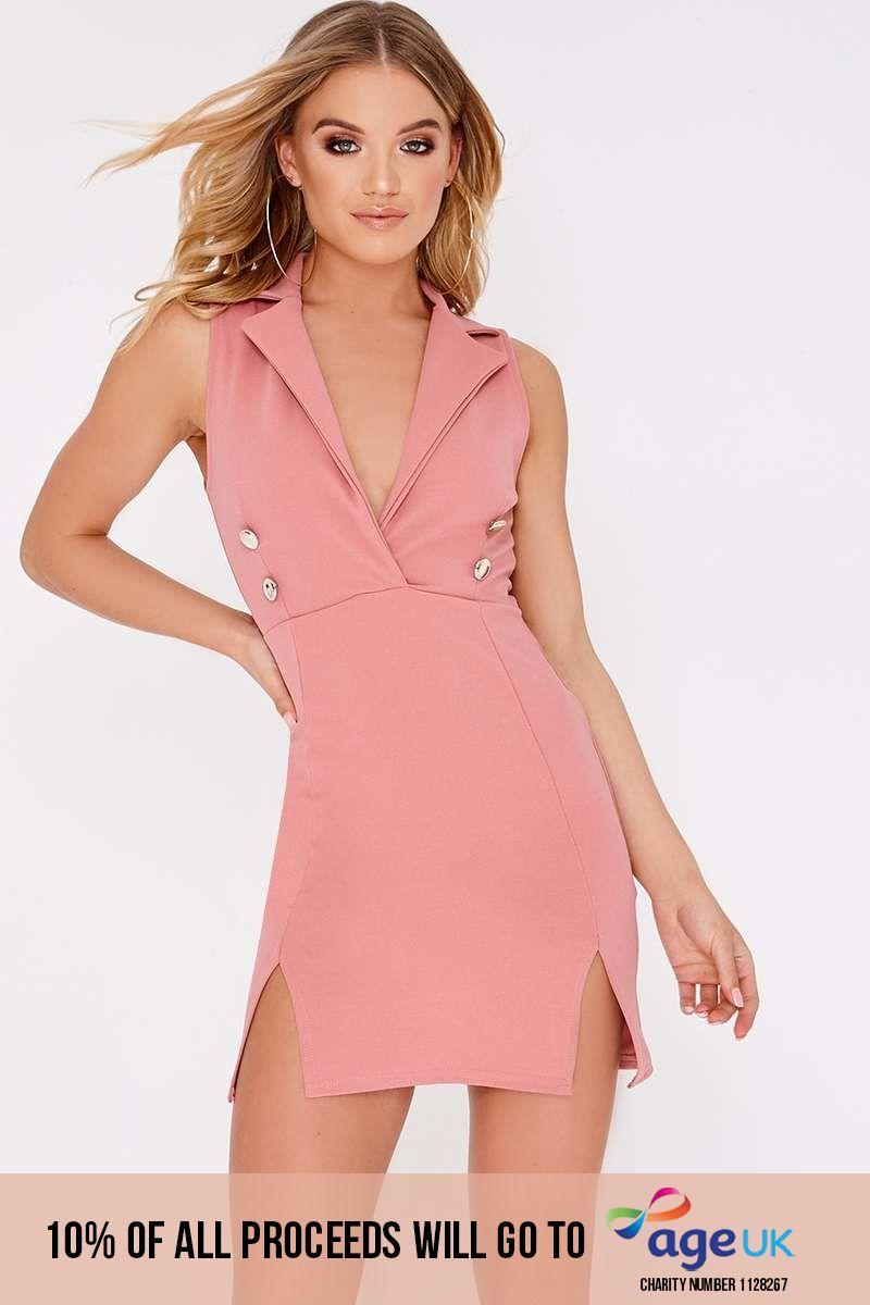 DOLY ROSE PINK SLEEVELESS BLAZER DRESS