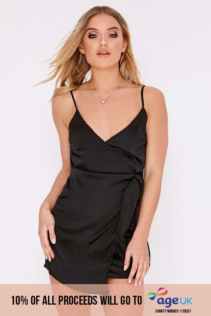 DAGNA BLACK WRAP FRONT SATIN DRESS