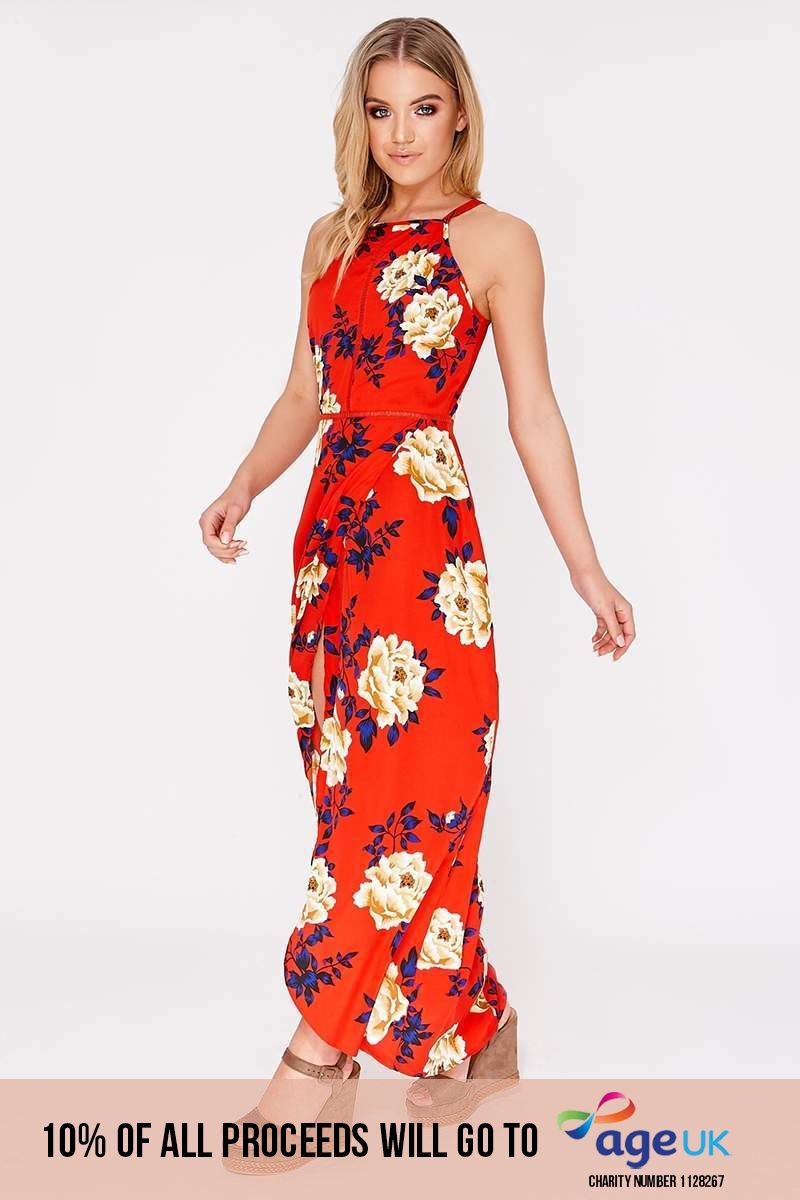 BASSIA RED FLORAL MAXI DRESS