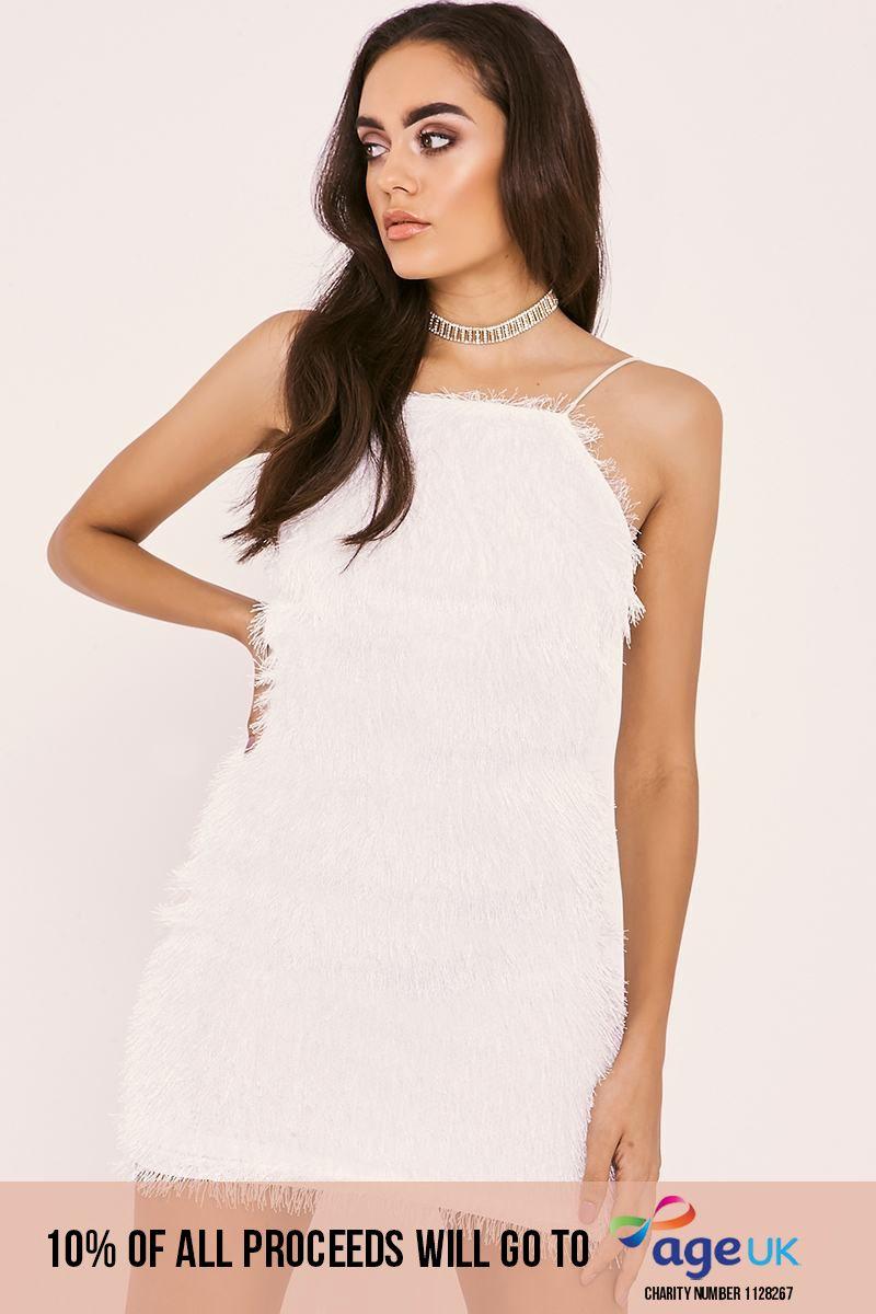 SADIRA WHITE FRINGE LACE UP BACKLESS DRESS
