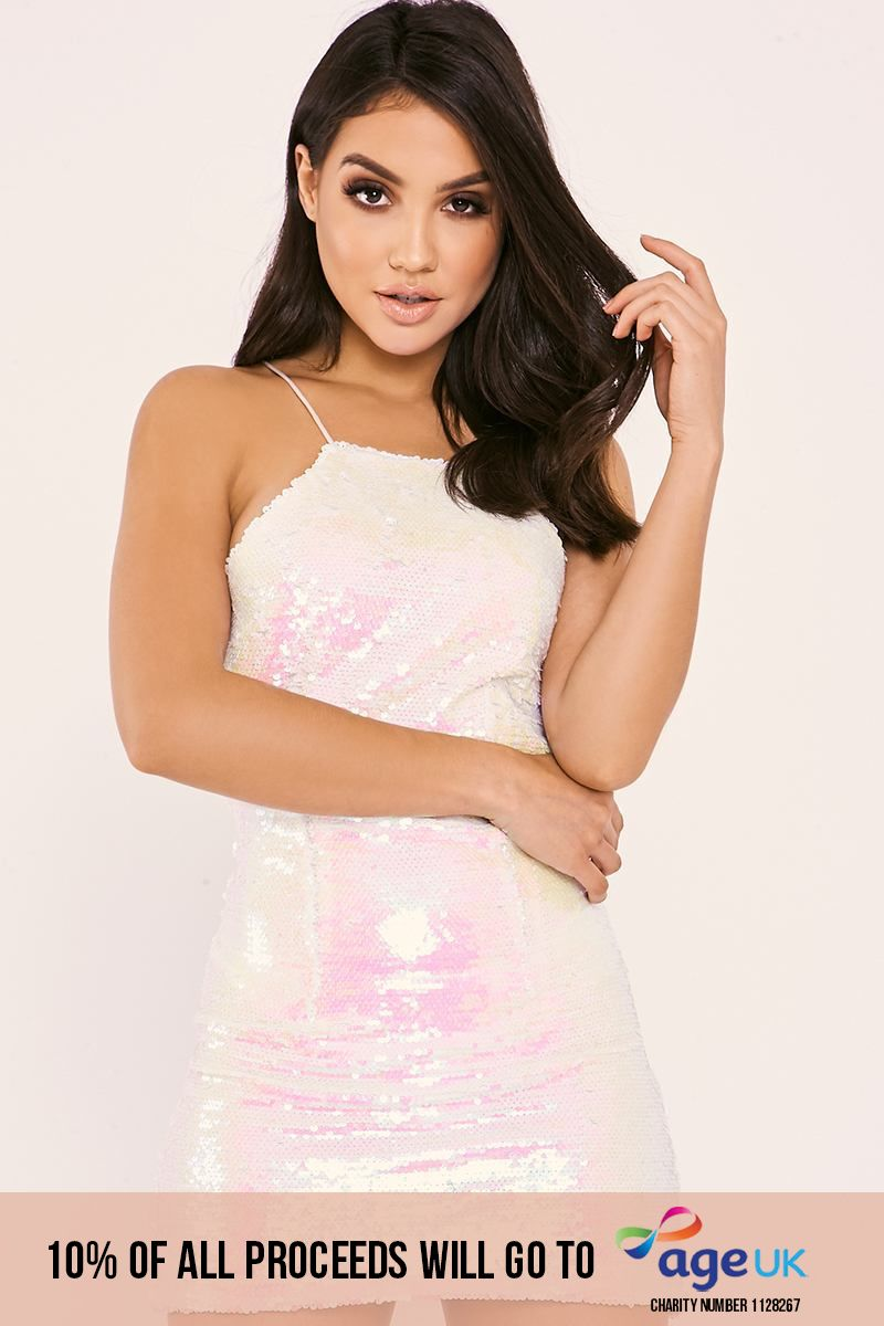 MARILEE WHITE IRIDESCENT SEQUIN STRAPPY DRESS