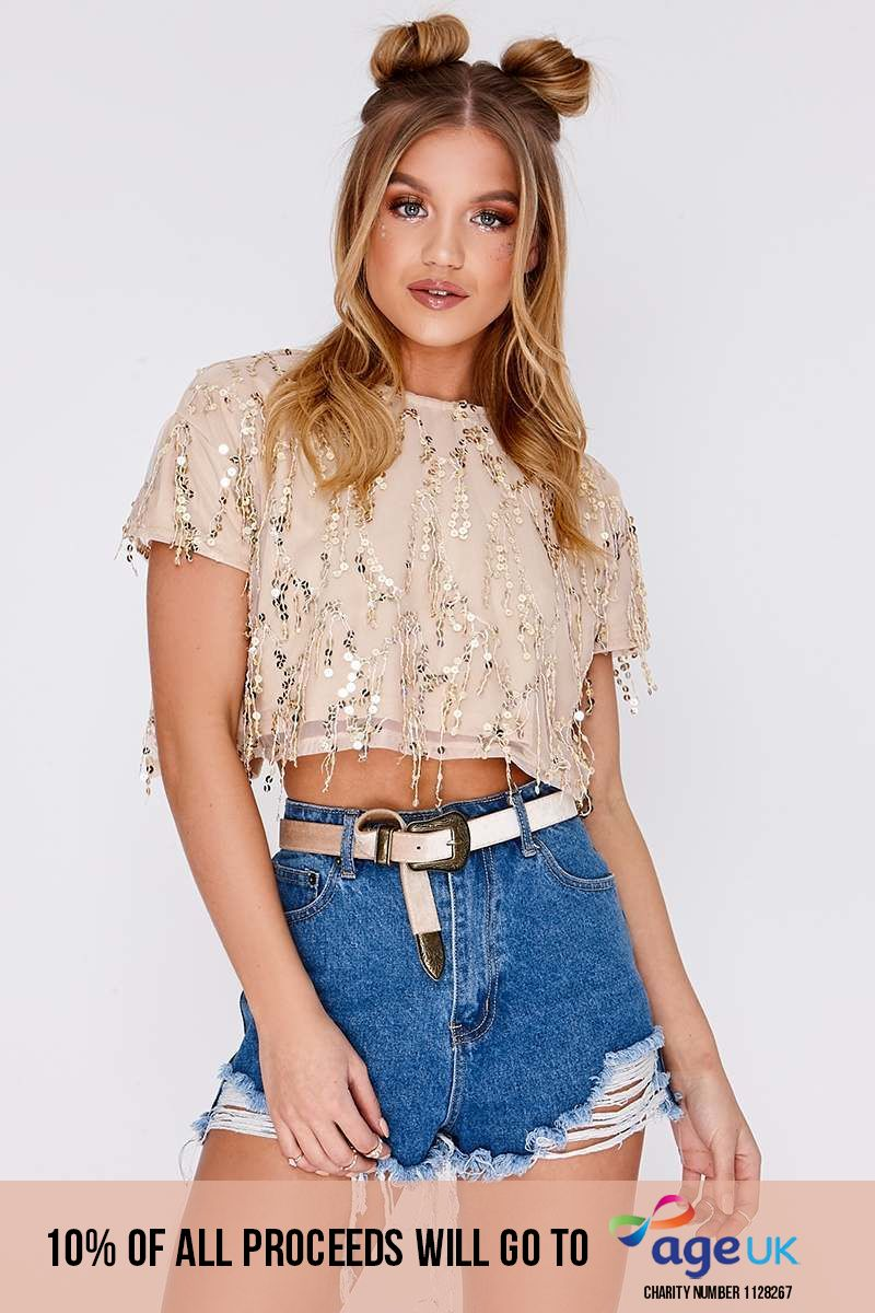 rose gold tassel sequin crop top