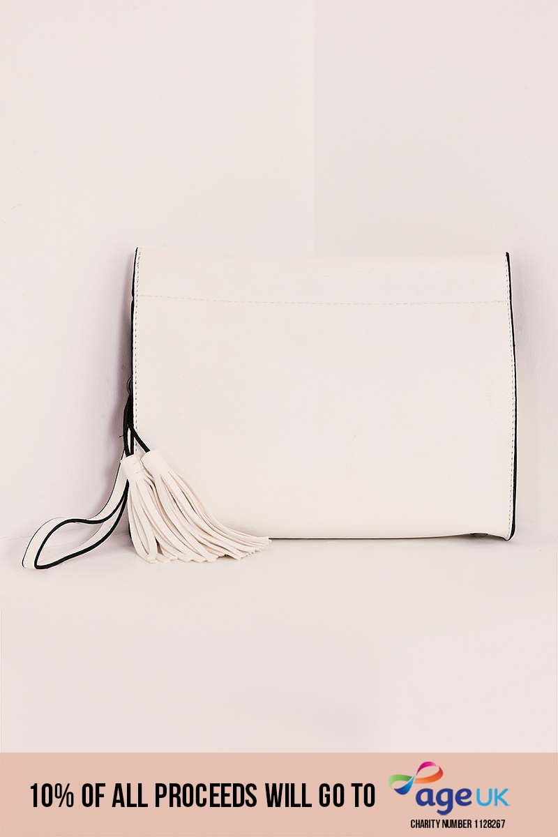 WHITE FAUX LEATHER BOXY CLUTCH BAG