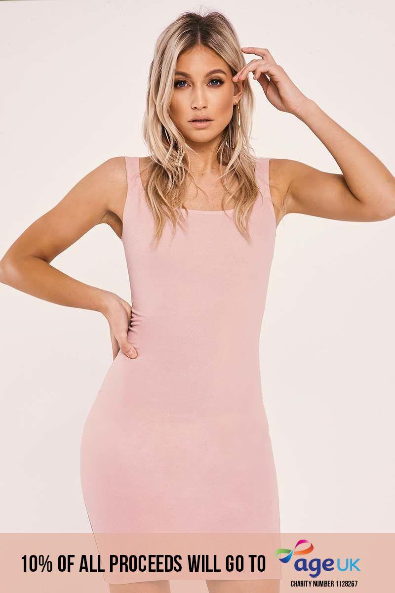 pink crepe midi dress