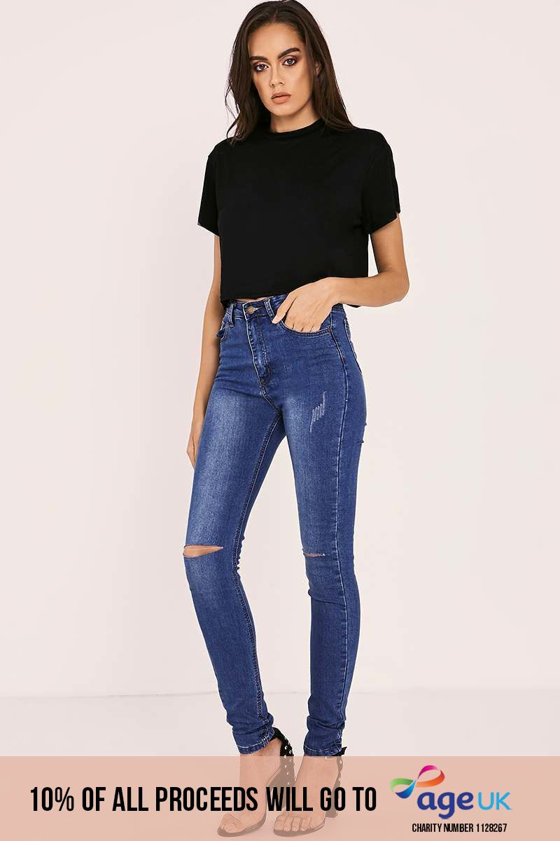 mid wash high waisted ripped knee skinny jeans