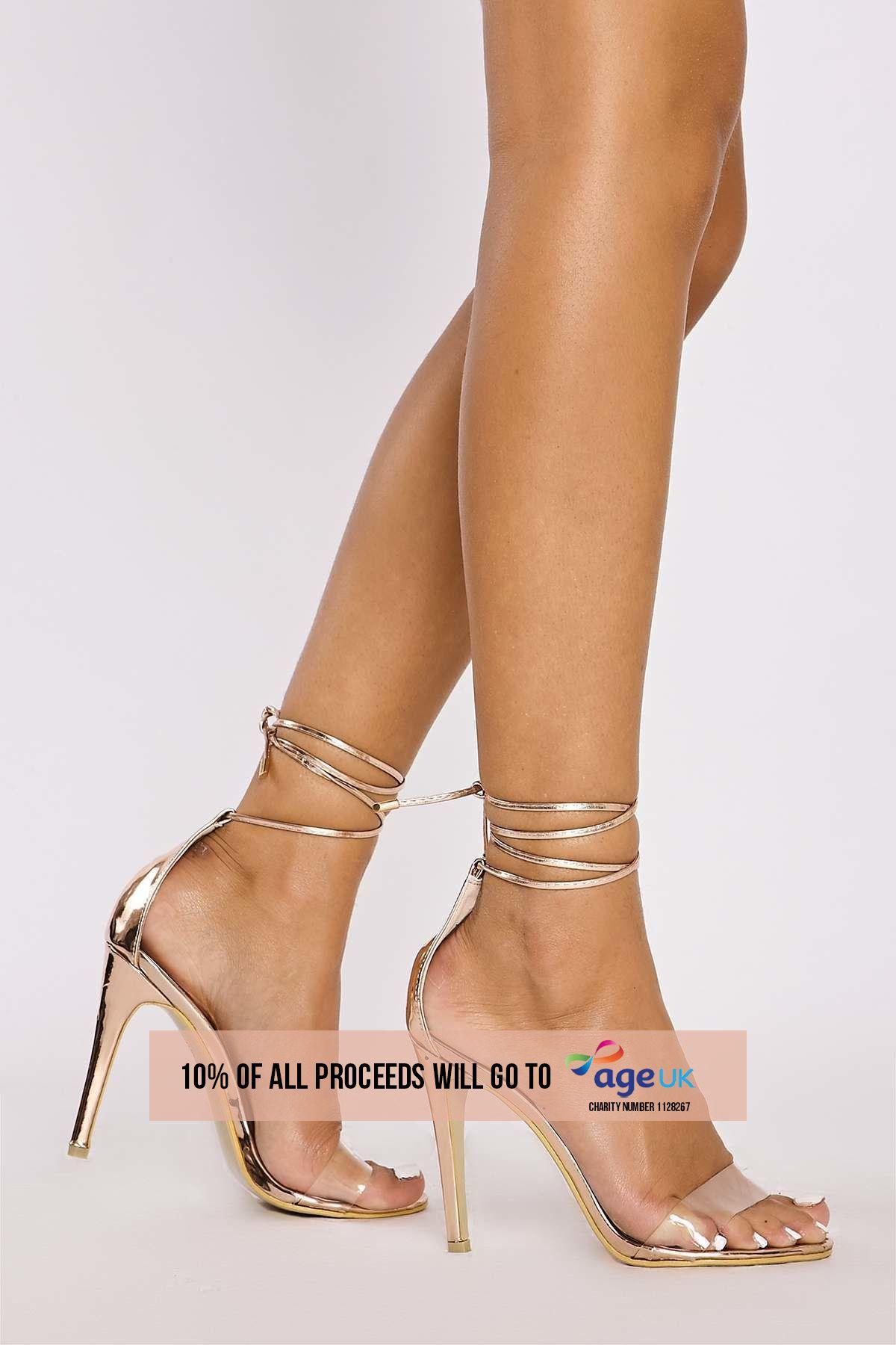 rose gold chrome clear strap tie leg heels
