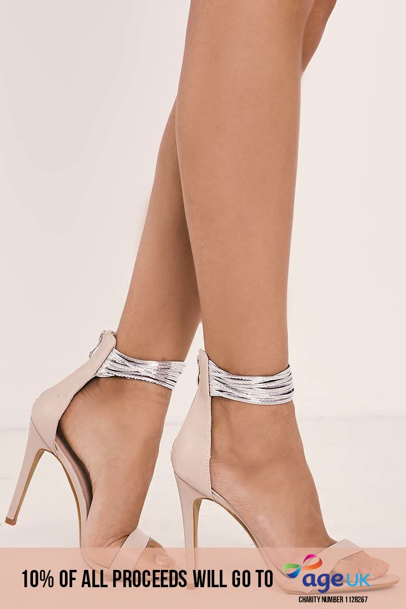 nude faux leather multi ankle strap barely there heels