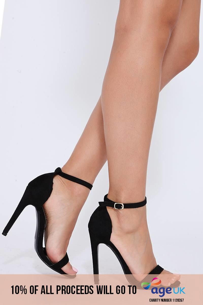 black faux suede ankle strap barely there heels