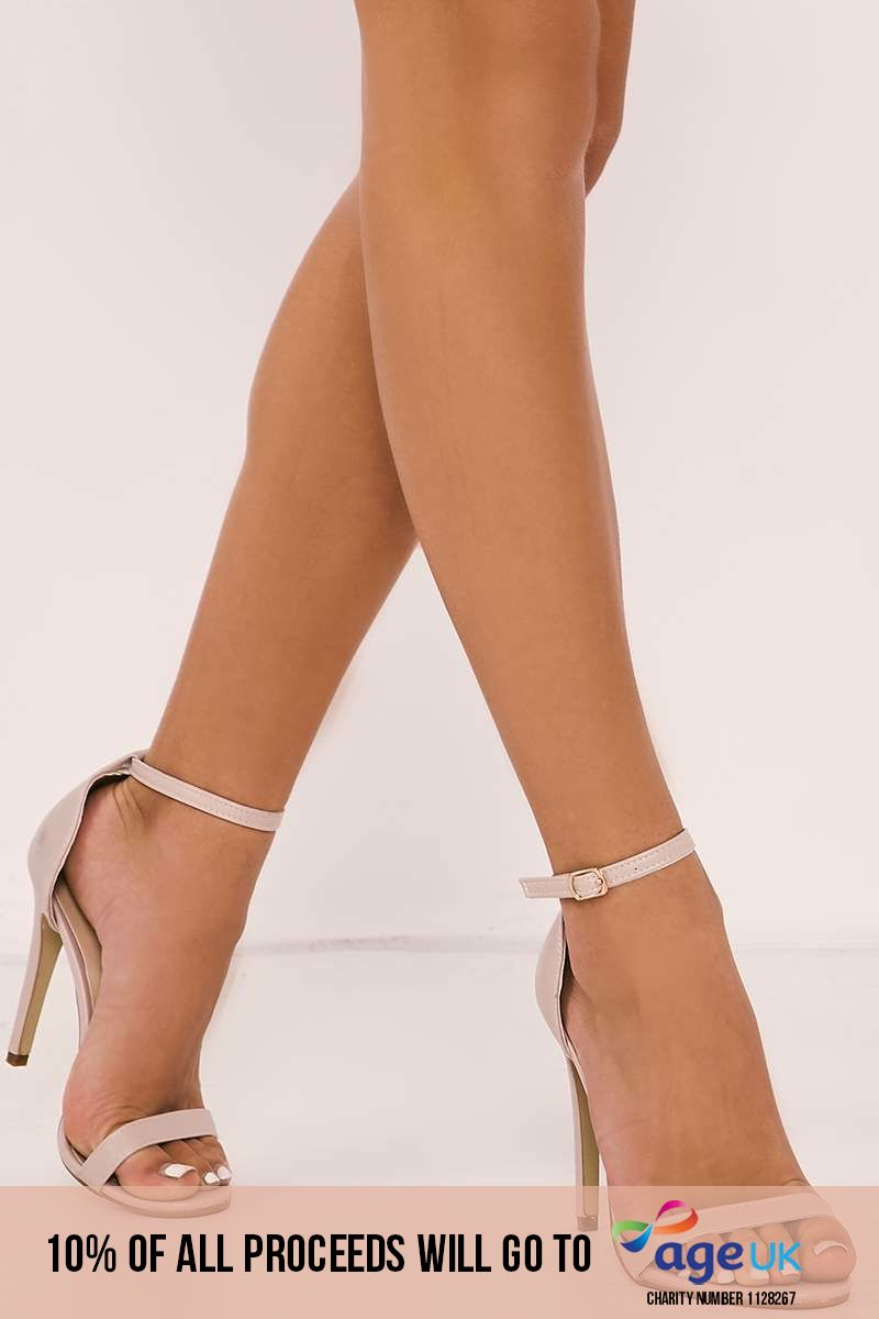 nude ankle strap barely there heels