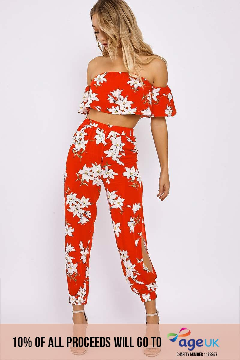 red floral bardot top and split side trouser co ord
